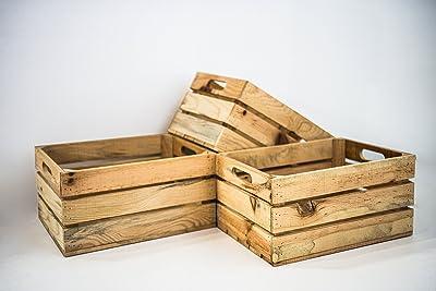 Set 3 Cajas de Almacenamiento con Asas Sam, Madera, Natural, Naturaleza, Medidas: 35x25x20cm. Incluye Regalo Imán Exclusivo Personalizable.: Amazon.es: Hogar