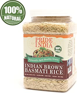 Pride Of India - Extra Long Brown Basmati Rice - Naturally Aged Healthy Grain, 2.2 Pound (1 Kilo) Jar + EXTRA 50% PRODUCT FREE ( 1 KG + 0.50 KG FREE = 1.50 KG (3.30 LBS) RICE