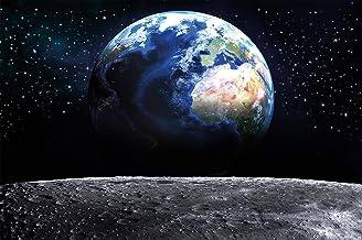 GREAT ART Väggmålning – utsikt över jorden från månen – bilddekoration galax universum yttre månen landning utsikt rymden ...