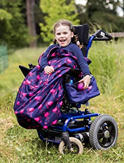 100% Waterproof Fleece-Lined Wheelchair Cozy Wheelchair Blanket | Universal fit for wheelchairs and Special Needs Buggies | Child Size (Navy Flamingo))