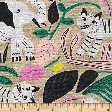 Cloud 9 Organic Wild Jungle Forest Barkcloth Tan/Multi Fabric by the Yard
