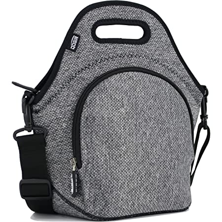 "QOGiR Insulated Neoprene Lunch Bag Tote with Zipper Pocket & Strap - Large 12"" x 12"" x 6.5"" inch(Fits Containers up to 8""Lx7""Hx6""W) (Elegant Grey)"