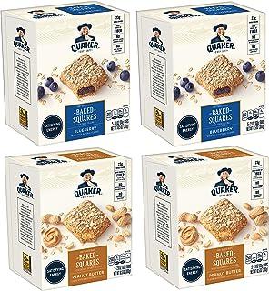 Quaker Baked Squares, Soft Baked Bars, Peanut Butter & Blueberry, 5 Bars (Pack of 4)
