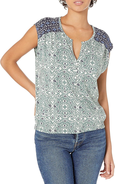 Lucky Brand Women's Sleeveless Button Special sale item Top Print Long Beach Mall Neck Mixed