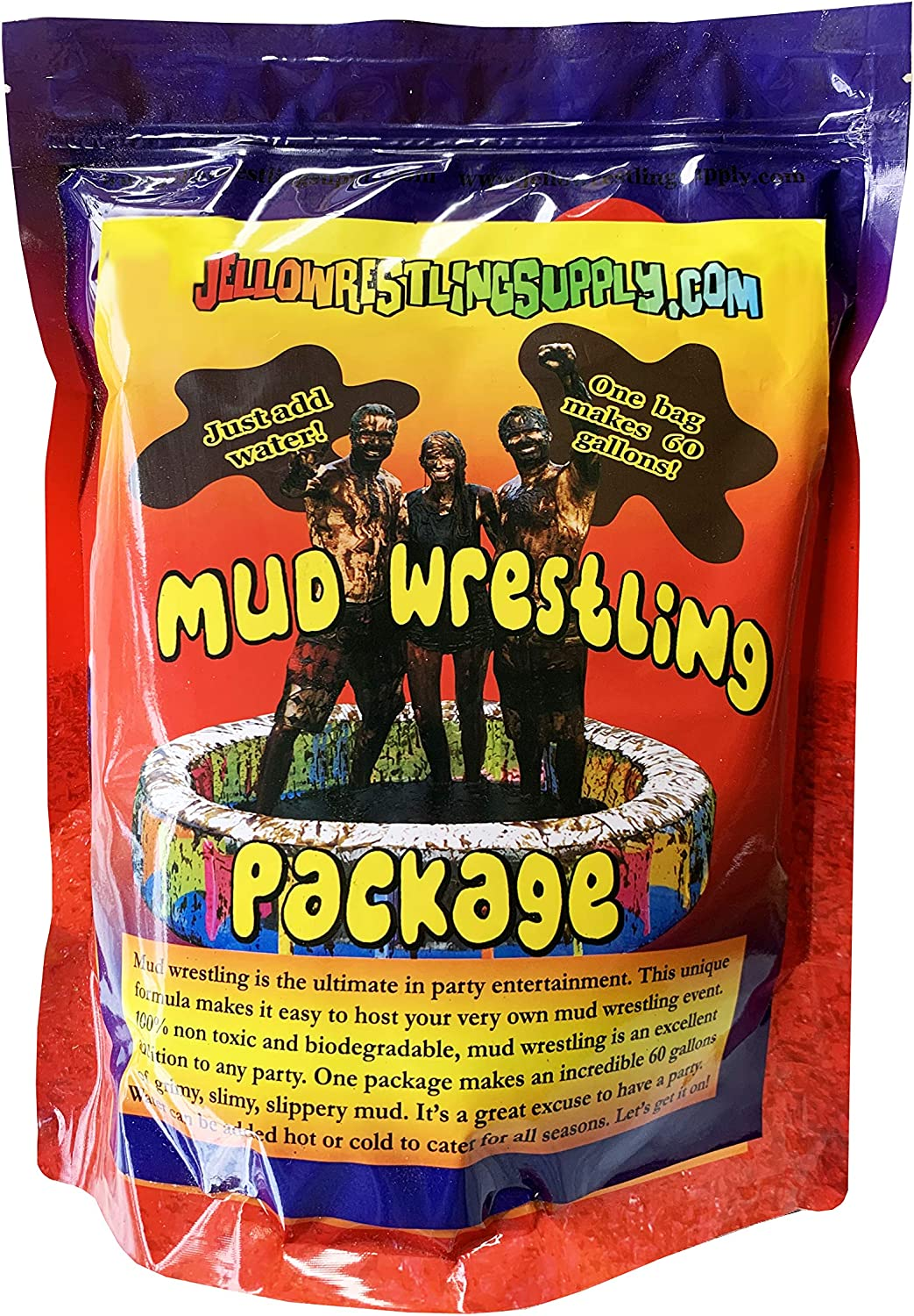 Instant Mud Wrestling Mix. Makes 60 Gal Just Add Water. Chocolate Pudding or Oil Wrestling Kit non edible. Add package to pool or pit. Slimy slippery fake sludge. For mud runs messy party games fun