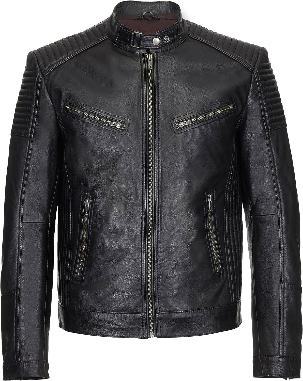 Smart Range Men's Leather Jacket Black Retro Biker Soft Lambskin Motorcycle Style 1829