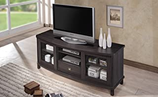 Baxton Studio Wholesale Interiors Walda Dark Brown Wood TV Cabinet with 2 Sliding Doors and 1 Drawer, 60