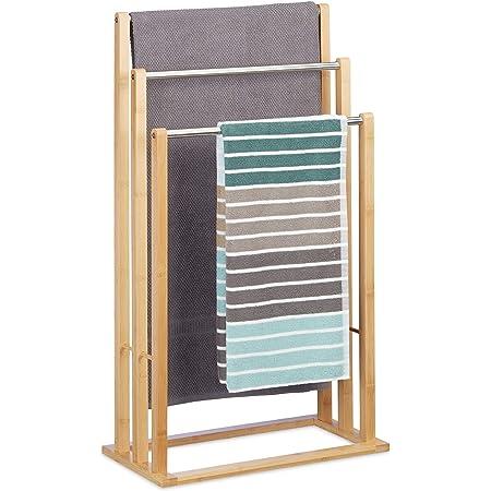 Relaxdays 10020983 Porte-serviettes sur pied 3 bras salle de bain bambou support valet serviteur HxlxP: 84 x 48 x 26 cm, nature
