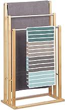 Relaxdays 10020983 Porte-serviettes sur pied 3 bras salle de bain bambou support valet serviteur HxlxP: 84 x 48 x 26 cm, n...