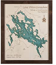 Lake Lillinonah - Fairfield County - CT - 3D Map 16 x 20 in (Brown Rustic Frame with Glass) - Laser Carved Wood Nautical Chart and Topographic Depth map.