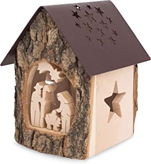 Forest Decor Nativity Scene Tealight Candle Holder, Unfinished Bark and Finished Wood Craft, Decorative Wooden Home, Living Room and Bedroom Decor, Handmade in Germany (Nativity)