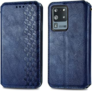 Magnetic flip Leather Case for Samsung Galaxy S20 Ultra /S20 Ultra 5G Luxury Magneti Card Holder Wallet Cover (Blue)