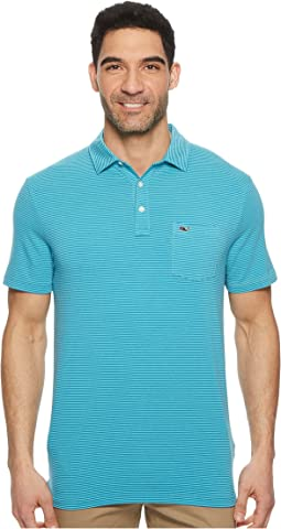 Edgartown Contrast Feeder Stripe Performance Polo
