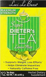 Laci Le Beau Super Dieter's Tea, Maximum Strength Lemon Mint, 12 Tea Bags (Pack of 6)