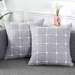 AmHoo Pack of 2 Farmhouse Plaid Decorative Throw Pillow Covers Modern Jacquard Pillowcases Faux Linen Cushion Covers Set for Sofa Couch Bedroom,20x20Inch,Dark Gray