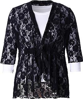 Chicwe Women's Stretch Plus Size Floral Lace Bohemian Cardigan Jacket 1X-4X