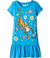Moschino Kids - Short Sleeve Monkey Graphic Drop Waist Dress (Big Kids)