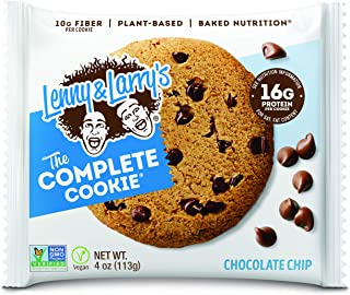 Lenny & Larry's The Complete Cookie, Chocolate Chip, Soft Baked, 16g Plant Protein, Vegan, Non-GMO, 4 Ounce Cookie (Pack of 12)