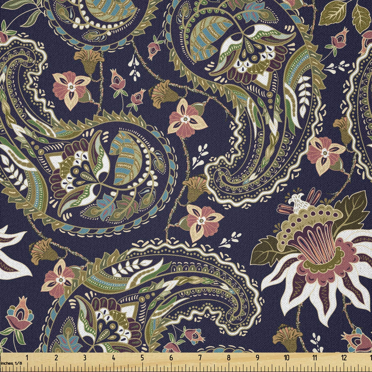 Ambesonne Jacobean Fabric by The 35% Minneapolis Mall OFF Vintage Nostalgia Yard Floral