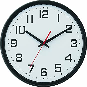 Amazon Com Tempus Wide Profile Wall Clock With Dual Electric Battery Operation And Daylight Saving Time Auto Adjust Movement 13 75 Black Home Kitchen