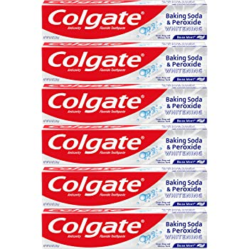 Colgate Baking Soda and Peroxide Whitening Toothpaste, Brisk Mint - 8 ounce (6 Pack)