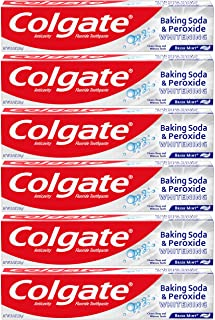 Colgate Peroxide and Baking Soda Toothpaste with Fluoride for Teeth Whitening and Stain Removal, Brisk Mint...