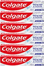 Colgate Peroxide and Baking Soda Toothpaste with Fluoride for Teeth Whitening and Stain Removal, Brisk Mint - 8 ounce (6 P...