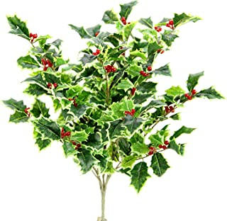 Admired By Nature GPB7807-VARIEGATED Artificial Christmas Bush, Holly Leaves Berries - Variegated