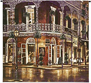 Jazz du Jour by Betsy Brown - Woven Tapestry Wall Art Hanging - New Orleans French Quarter Architecture Evening Street Music - 100% Cotton USA Size 53x53