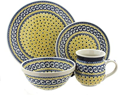 Blue Rose Polish Pottery Saffron 4 Piece Place Setting - Service for 1