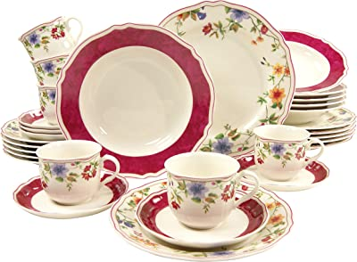 Creatable 30-Piece Cornwall Garden Dinnerware Set, Multi-Colour