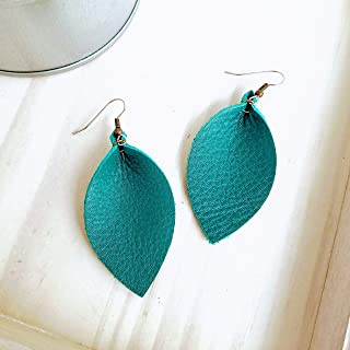 YILIBAO Real//Genuine Teardrop Leather Earrings Lightweight Leaf Petal Drop//Dangle Leather Earring for Women Girls