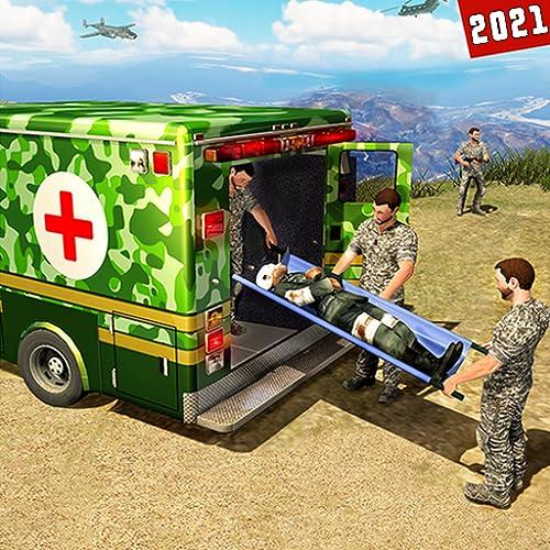 Simulatore ospedaliero di guida di auto ambulanza dell'esercito americano - Giochi 3D di missione di sopravvivenza di emergenza di salvataggio in città 2020 - Robot militare di supereroi Trasforma i g