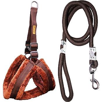 Petshop7 Premium Qaulity Fur Padded Nylon Dog Harness & Leash Rope 1.25inch XL (Chest Size - 30-38inch)