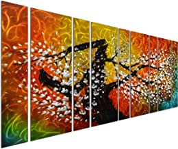 Pure Art Gigantic Tree of Life Metal Wall Art Decor, Oversize Colorful 3D Artwork for Modern, Contemporary and Traditional Decor, 9-Panels Measures 86