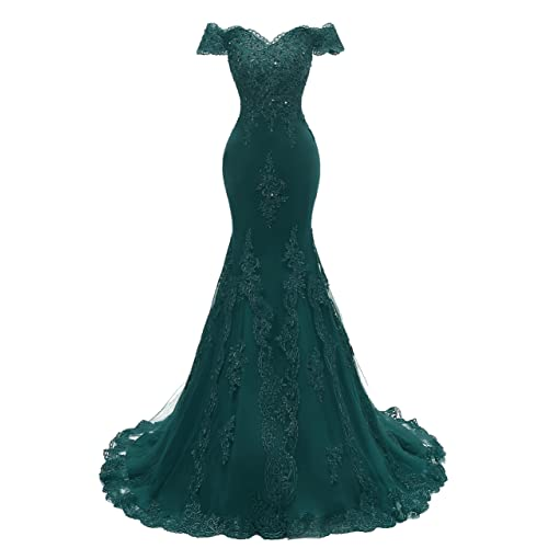 fed9a7d8fe32 Himoda Women's V Neckline Beaded Evening Gowns Mermaid Lace Prom Dresses  Long H074