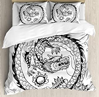 Conjuntos de ropa de cama de dragón, Ilustración espiritual de la herencia popular asiática japonesa, Patrón de dragón remolino, Funda nórdica de 3 piezas, Colcha de colcha para niños / Niños / Adoles