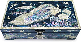 Hand Made Jewelry Box Mother of Pearl Sea Shell Inlaid Removable Ring Organizer Tray Mirror Lid Peacocks Design Blue