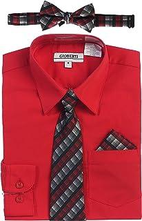 af98167c1f21 Gioberti Boy's Long Sleeve Dress Shirt + Plaid Tie, Bow Tie and Hanky
