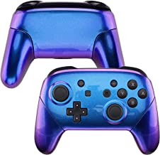eXtremeRate Chameleon Faceplate Backplate Handles for NS Switch Pro Controller, Purple Blue DIY Replacement Grip Housing Shell Cover for NS Switch Pro - Controller NOT Included
