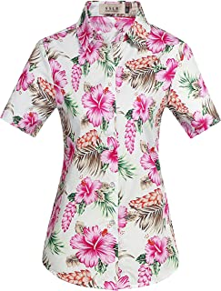 SSLR Women's Floral Button Down Causal Short Sleeve Aloha Hawaiian Shirt