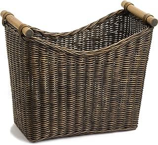 The Basket Lady Narrow Wicker Magazine Basket, Large, 14 in L x 7.5 in W x 12 in H, Antique Walnut Brown