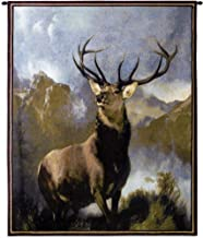 Monarch of The Glen by Sir Edwin Landseer | Woven Tapestry Wall Art Hanging | Majestic Deer Wildlife Lodge Artwork | 100% Cotton USA Size 53x42