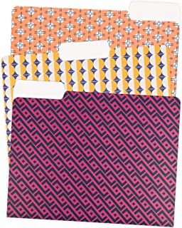 U Brands Vintage Geo Fashion File Folders, 1/3 Cut, Letter Size, Assorted Colors, 24 Pack
