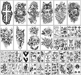 40 vellen Waterdichte Tijdelijke Tatoeages Bloemen en Dierencollectie Blijvende nep-Tatoeages voor Vrouwen en Meisjes of K...