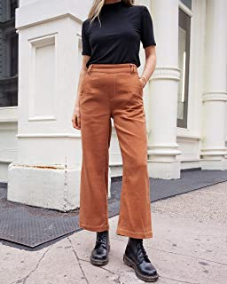 The Drop Women's Rust Brown High Rise Cropped Wide Leg Pant by @viktoria.dahlberg