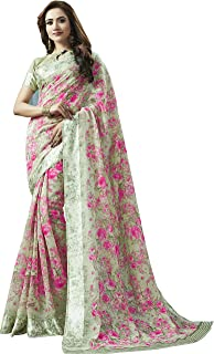 ca73de5d5d Shangrila Designer Women's Digital Printed Linen Cotton Saree with  Unstitched Blouse (KNCHCTN11-4411,