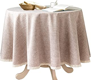 Glory Season Linen Rustic Burlap Washable Tablecloth,Solid Heavy Weight 70 Inch Round Overlay Lace Edge Table Cover for Kitchen Dinning Decoration