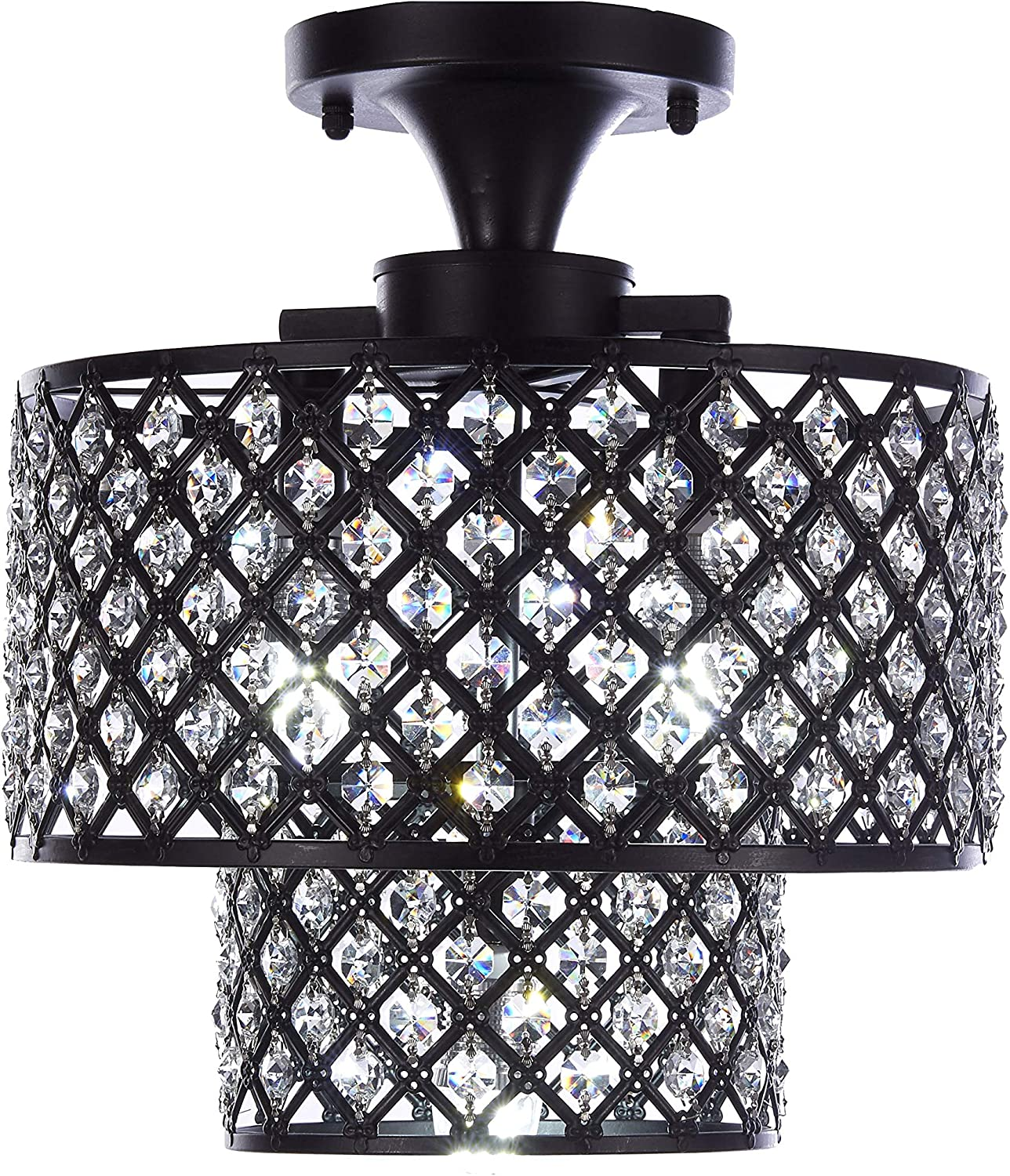Top Lighting Antique Black Finish 3-Light Semi-Flush Mount Dual Iron Shades Crystal Chandelier