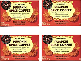 Trader Joes Pumpkin Spice Coffee 48 K Cups Pods Total - Medium Roast 100% Arabica Coffee In Single Serve Cups - Naturally Flavored With Cinnamon, Clove, Ginger, Nutmeg, and Allspice